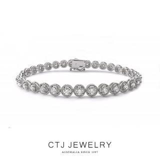 【CTJ】華麗3克拉滿鑽18K金鑽石手鍊