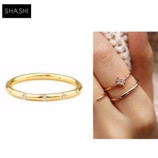 【SHASHI】SHASHI 紐約品牌 LOREN 金色素面戒指 鑲12白鑽設計 優雅百搭(925純銀)