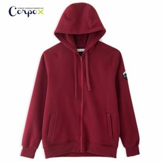 【Corpo X】男款發熱柔刷毛連帽外套(暗紅)