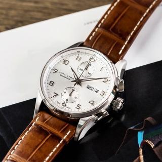 【HAMILTON 漢米爾頓】Jazzmaster 質感爵士經典機械皮革腕錶(H32576555)