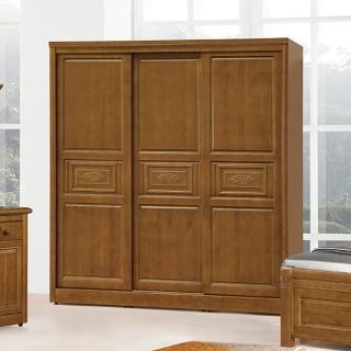【AS】艾布特雕花樟木7×7尺推門衣櫥-210x64x207cm