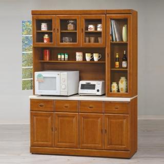 【AS】艾萊妮實木樟木色5.3尺石面餐櫃全組-160x41.5x205cm