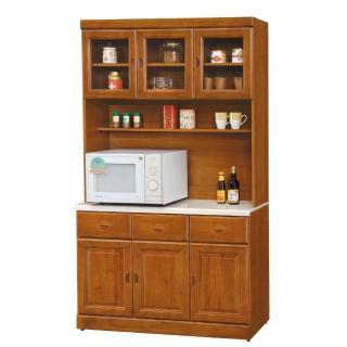 【AS】艾萊妮實木樟木色4尺石面餐櫃全組-120.5x41.5x205cm