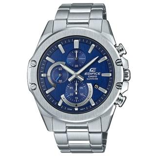 【CASIO 卡西歐】EDIFICE設計感輕薄三眼三針藍寶石玻璃鏡面不鏽鋼休閒錶-藍面(EFR-S567D-2A)