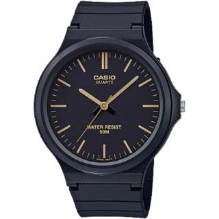 【CASIO 卡西歐】簡約指針設計時尚錶-黑x金色時刻(MW-240-1E2VDF)
