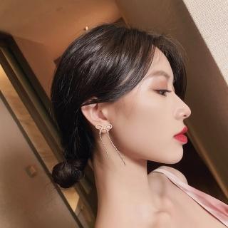 【HaNA 梨花】韓國夢裡的音符蝴蝶結水鑽流蘇耳環