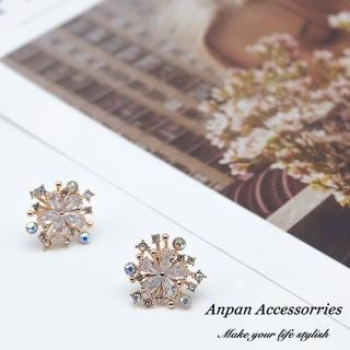 【Anpan】925銀針韓東大門精緻水晶花叢耳環