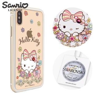 【apbs】三麗鷗 Kitty iPhone XS / iPhone X 5.8吋施華彩鑽鋁合金屬框手機殼(金色緞帶凱蒂)