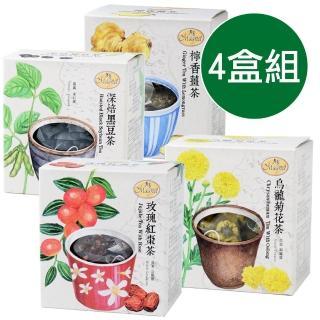 【曼寧】台灣花茶精選4盒組(玫瑰紅棗/黑豆茶/烏龍菊花茶/檸香薑茶)