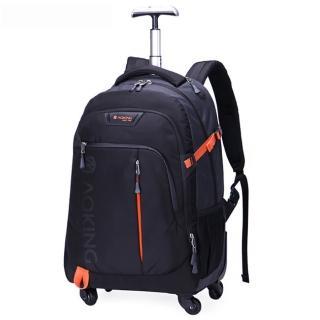 【PUSH!】旅遊休閒用品拉桿雙肩背包電腦包大容量輕型拉桿包35L萬向輪(U57黑色)/