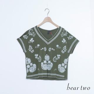 【bear two】民俗印花V領寬袖短版上衣(二色)