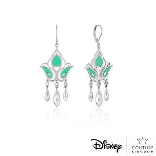 【Disney Jewellery】迪士尼 Couture Kingdom 阿拉丁茉莉公主鍍14K白金水晶垂墜耳環