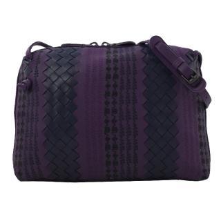 【BOTTEGA VENETA 寶緹嘉】手工編織拼接小羊皮斜背小方包(紫)