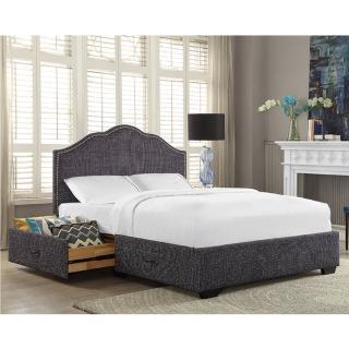 【FL 滿屋生活】FL ALPI 阿貝斯-6尺藍織紋收納抽屜鉚釘實木高背床架(實木床架/高背床架/抽屜床/雙人加大)