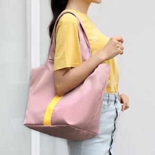 【Acorn 橡果】韓系簡約大容量防水肩背包手提包托特包6585(粉色)