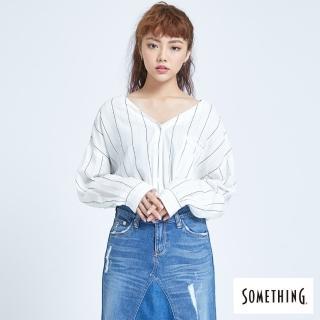 【SOMETHING】質感條紋 長袖無領襯衫-女款(白色)