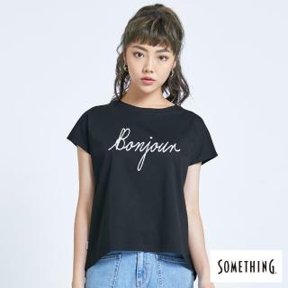 【SOMETHING】質感印花寬版T恤-女款(黑色)