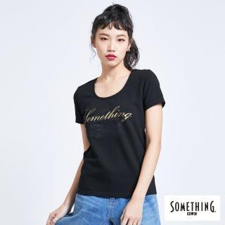 【SOMETHING】巴黎左岸街景圓領短袖T恤-女款(黑色)