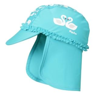 【Playshoes】嬰兒童抗UV防曬水陸兩用遮頸帽-天鵝(護頸遮脖遮陽帽泳帽)