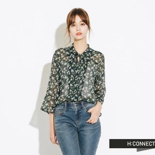 【H:CONNECT】韓國品牌 女裝 - 氣質綁結碎花上衣(綠色)