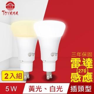 【TOYAMA特亞馬】LED雷達感應燈5W 插頭型 X2(白光、黃光)