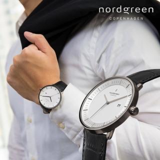 【Nordgreen】Philosopher哲學家x深空灰 黑色鱷魚紋真皮錶帶腕錶 40mm(PH40GMLEBCXX)