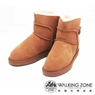 【WALKING ZONE】經典熱銷款迷你雪靴短靴 女鞋(棕)