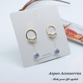 【Anpan】925銀針韓東大門時尚低奢垂墜鑽石耳環