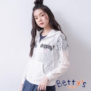 【betty's 貝蒂思】蕾絲繡線字母連帽外套(白色)
