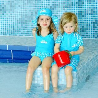 【德國Playshoes】抗UV防曬短袖兩件組兒童泳裝-天鵝(認證UPF50 泳衣+泳褲)
