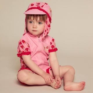 【德國Playshoes】抗UV防曬短袖兩件組兒童泳裝-草莓(認證UPF50 泳衣+泳褲)