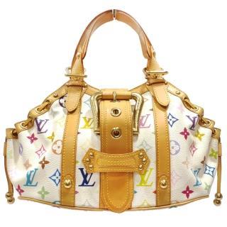 【Louis Vuitton 路易威登】M92347 THEDA GM 村上隆皮革白彩字紋水餃包/手提包(白彩字紋-限量絕版品)