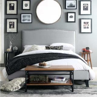 【FL 滿屋生活】FL Silver grey 混織銀灰-5尺鉚釘實木高背床架(實木床架/床組/經典床款/標準雙人/5x6.2尺)