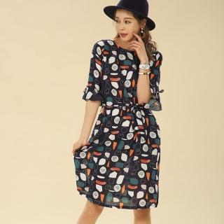 Yumie100%天然全植棉優雅女人花洋裝組