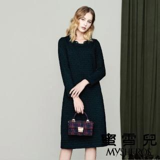【mysheros 蜜雪兒】復古小花鑽領洋裝(藍綠)
