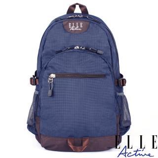 【ELLE active】格紋系列-後背包-大-深藍色