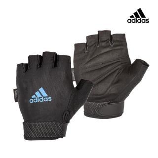 【adidas 愛迪達】Training 可調式透氣短指訓練手套-藍(M-L)