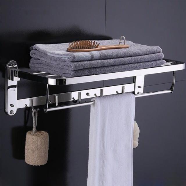 【F.O.S.O】304不鏽鋼多功能毛巾置物架(/壁掛架/不鏽鋼架/浴巾架)/