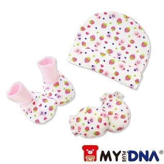 【MY+DNA 熊本部】嬰兒手套腳套棉帽3件組-女寶寶款(A0070-G)
