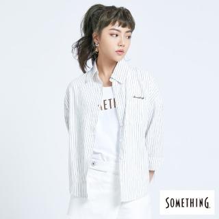 【SOMETHING】率性中性風襯衫-女款(白色)