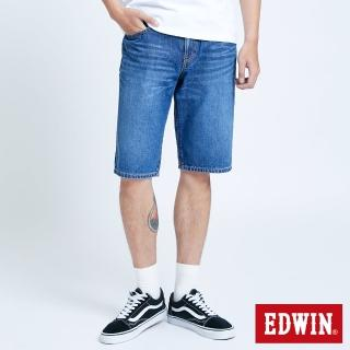 【EDWIN】仿舊五袋牛仔短褲-男款(中古藍)