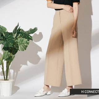 【H:CONNECT】韓國品牌 女裝 - 簡約後鬆緊寬褲(卡其色)