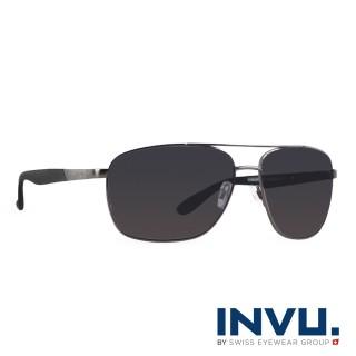 【INVU】瑞士時尚潮流飛行員偏光太陽眼鏡(黑-B1700A-12HR)