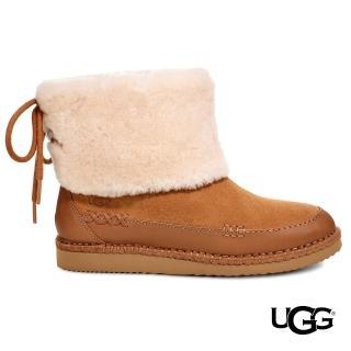 【UGG】Quinlin綁帶毛毛短靴(溫暖毛茸短靴)