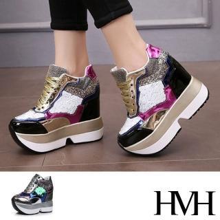 【HMH】璀璨變色亮片閃耀異材質拼接內增高厚底休閒鞋(2色任選)