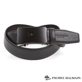 【PB 皮爾帕門】設計師款時尚霧黑質感款357(真皮自動扣皮帶)