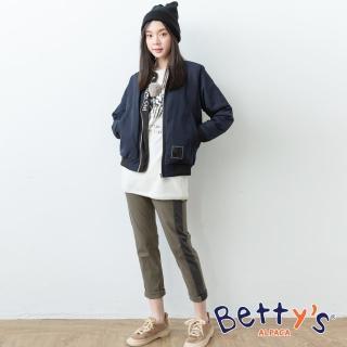 【betty's 貝蒂思】側邊拼布配色休閒長褲(深綠)