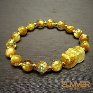 【SUMMER 寶石】5A貓眼黃金板鈦貔貅18K金手鍊(隨機出貨)