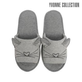 【Yvonne Collection】貓咪立體造型開口拖鞋(淺灰)