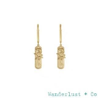 【Wanderlust+Co】Rosa 復古野玫瑰鍍18K金吊墜耳環